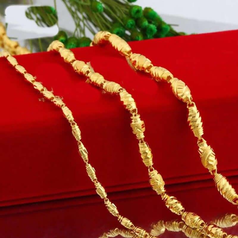 Véritable or jaune gros collier de perles Ellipse/999 or 24 K collier de perles d'olive chaîne 9g préfet