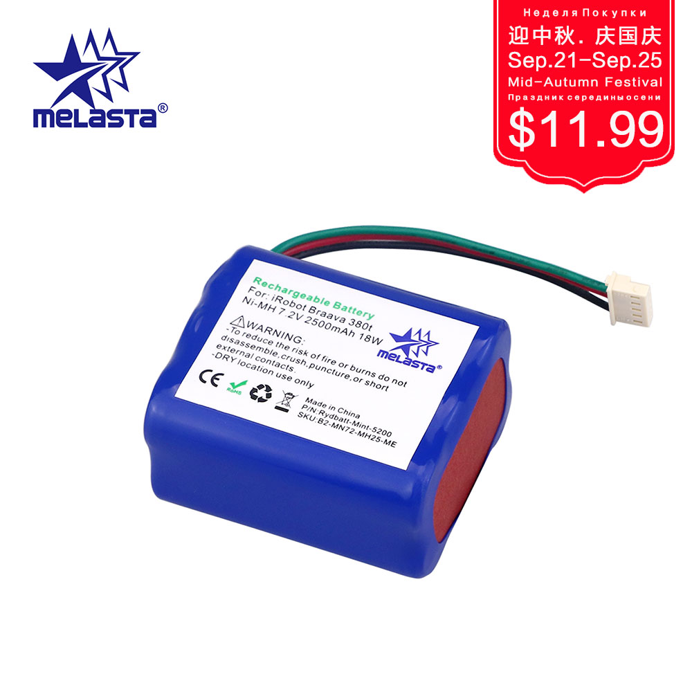 MELASTA 7,2 V 2500 mAh NiMH batería de repuesto para iRobot Mint 5200 5200B 5200C Braava 380 t limpiador de pisos