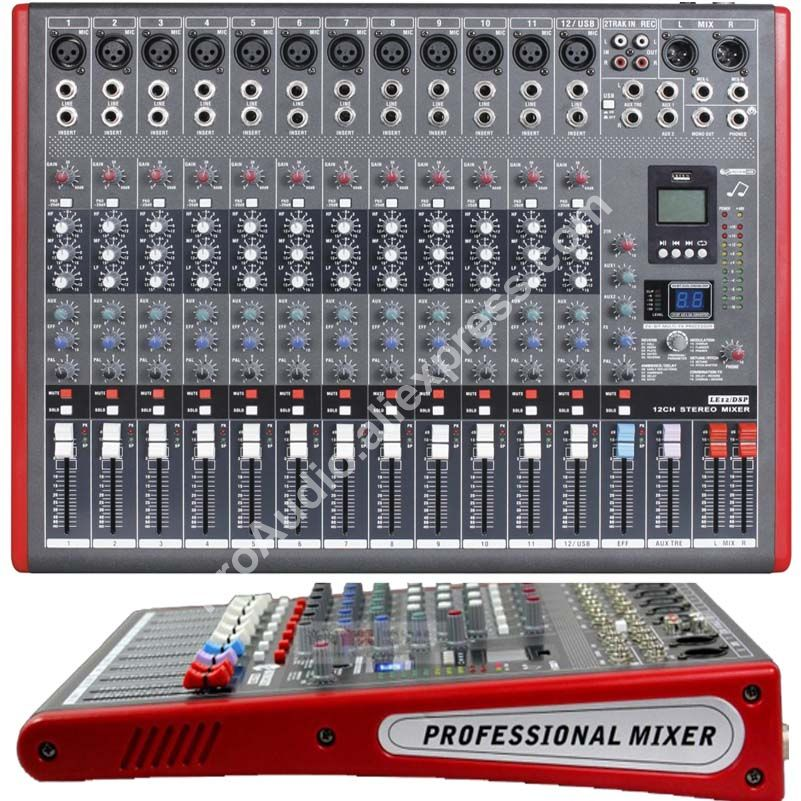 MICWL LE12 Pro 12 Ch 99 DSP Effects Stereo Microphone Mixer Sound Mixing Console MP3 USB 48V 24-Bit Multi-FX Processor цена