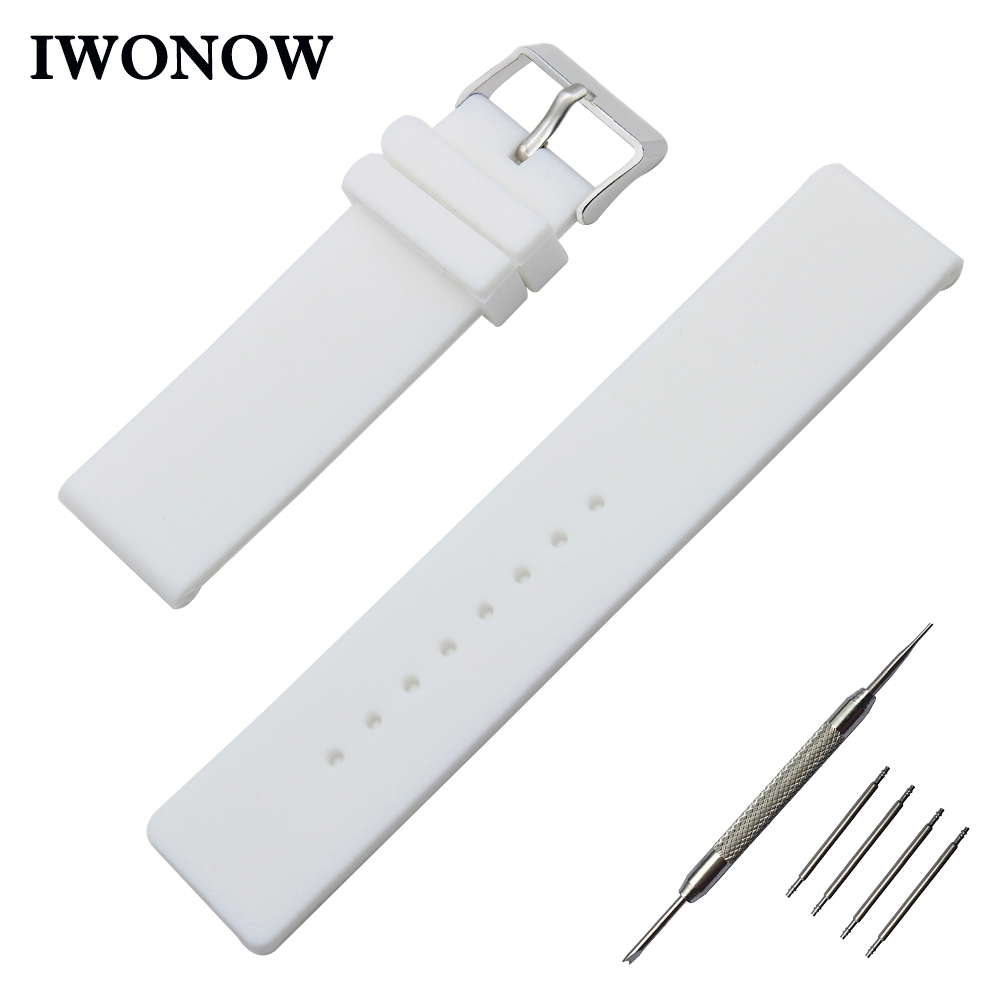 Silicone Rubber Watch Band 18mm for Withings Activite / Steel / Pop Stainless Pin Buckle Strap Wrist Belt Bracelet Black White 18mm milanese watch band quick release for withings activite steel pop mesh stainless steel strap wrist belt bracelet tool
