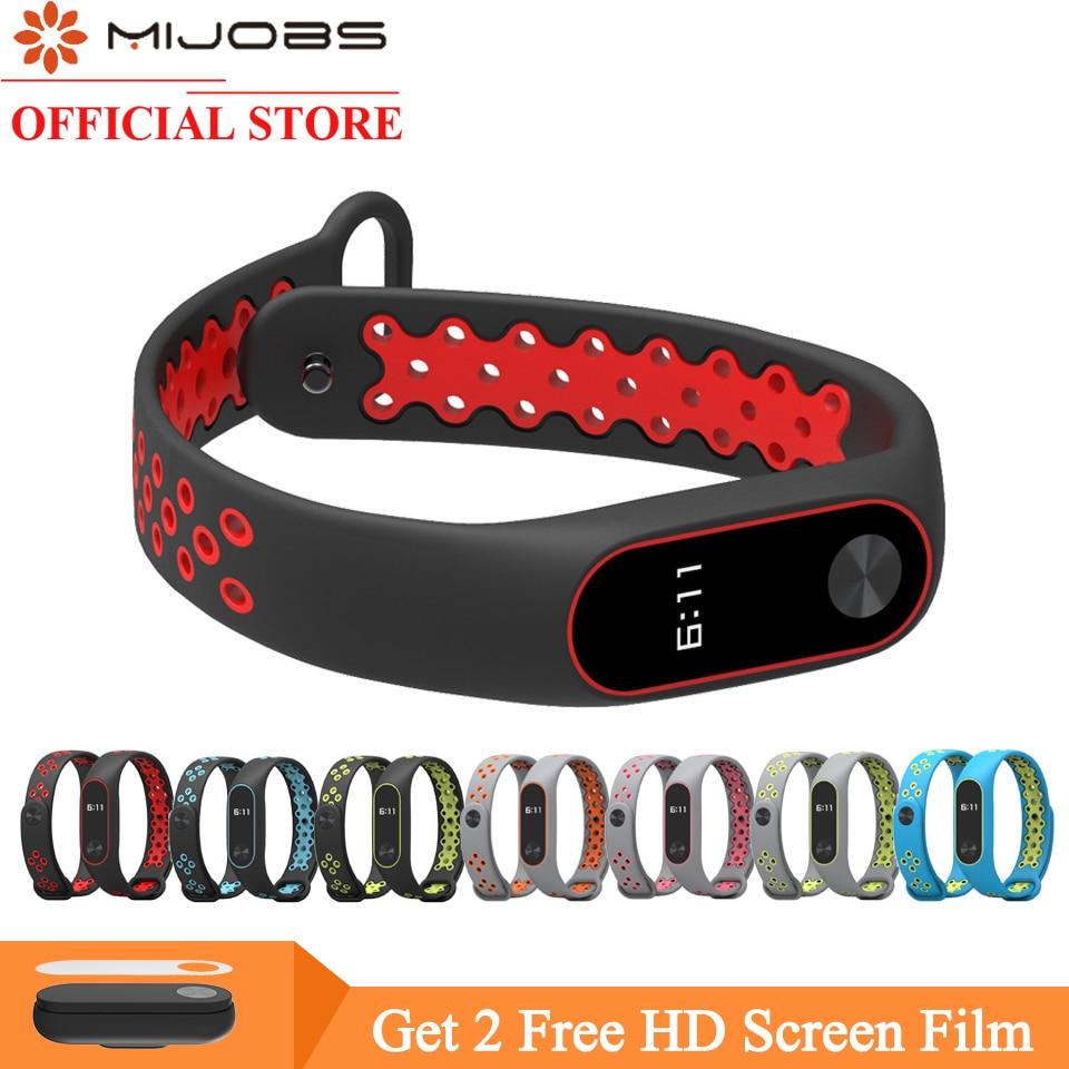 Mijobs Mi Band 2 Strap Bracelet Wrist Strap For Xiaomi Mi Band 2 Watch Miband 2 Accessories Smart Bracelet Sport Silicone Strap