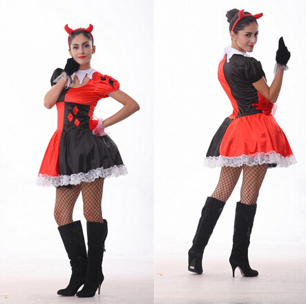 Funny Harley Quinn Costume Women Adult Female  Clown Circus Cosplay Carnival Halloween Costumes For Women Dress+headwear+glove