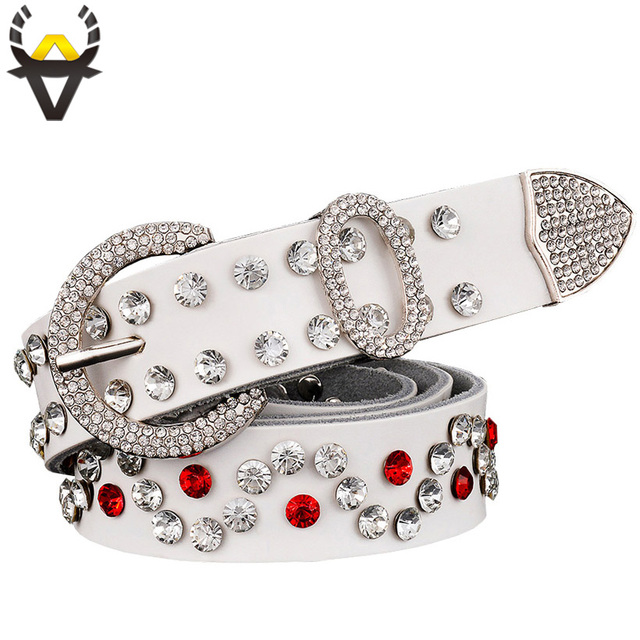 2017 Fashion belts for women designer brand high quality Second layer cow genuine leather thin belt woman New luxury rhinestones