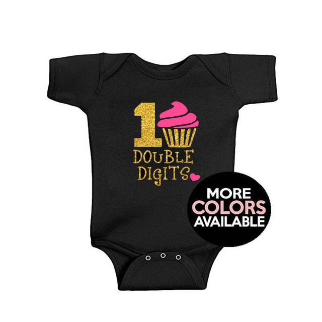 YSCULBUTOL Digits Girls 10th Birthday Shirt Tenth Glitter Cupcake Gift For Preteen Baby Bodysuit