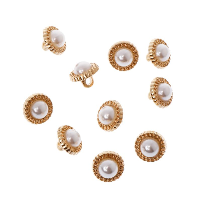 10pcs Golden Pearl Crystal Shank Buttons Wedding Bridal Sewing Decor 10mm