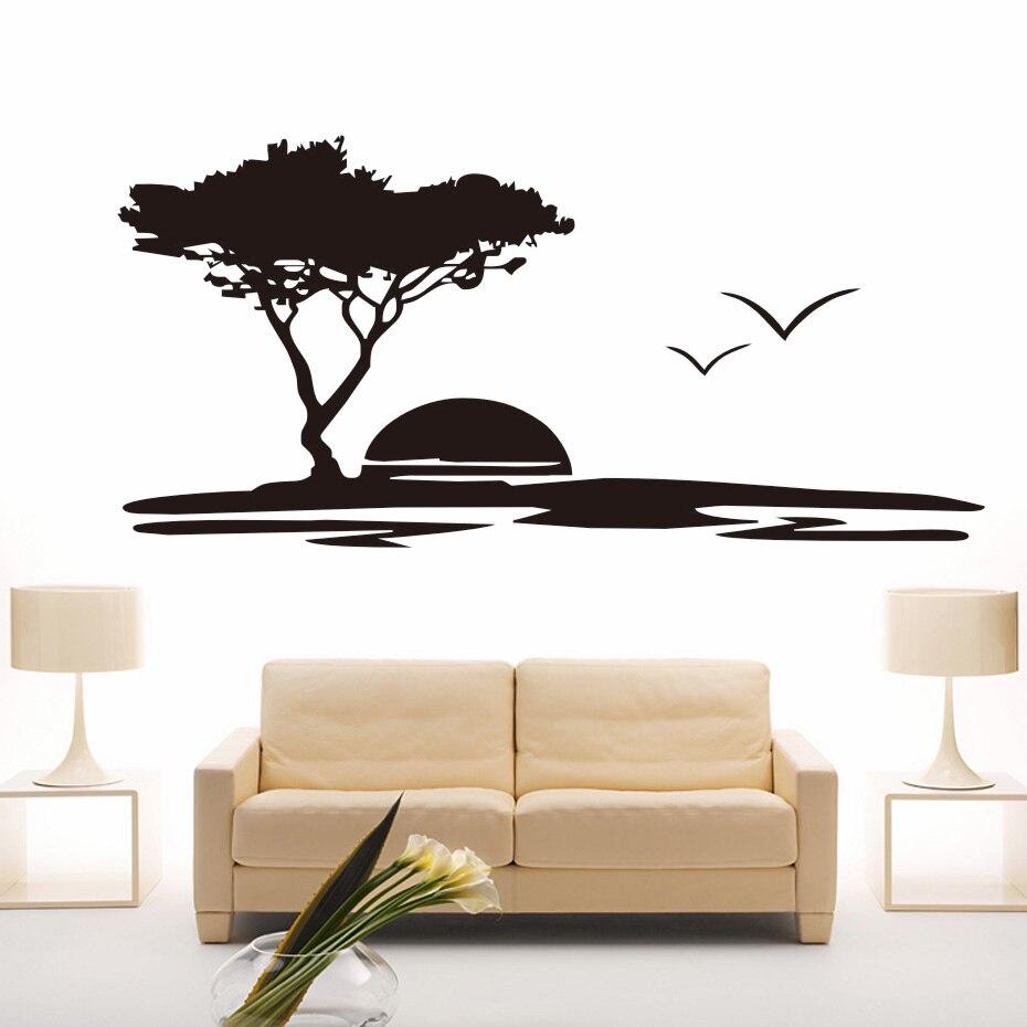 المشهد جدار الفن جدارية الغروب النوارس شجرة كبيرة صائق الحديثة ديكور المنزل للإزالة خلفيات الفينيل الجدار ملصق ل غرفة المعيشة