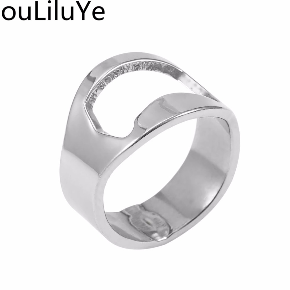 1pcs Fashion Unique Versatile Stainless Steel Finger Ring Beer Bottle Opener Ring Shape Opener Bar Supplies Kit Kitchen Tool New in Openers from Home Garden
