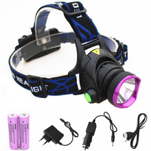Rechargeable 6000LM LEDHeadlamp +2*18650 battery +AC/Car Charger+ usb