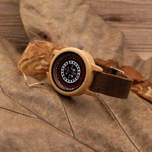 Image 4 - بوبو الطيور J19 الخيزران ساعة خشبية المرأة سوار من الجلد الأصلي مع حركة ميوتا اليابانية
