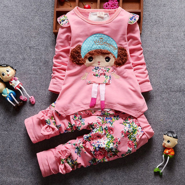 Otoño bebé niña traje tops camisetas + babero traje ropa infantil conjuntos para bebés recién nacidos 1 er cumpleaños tela bebé niñas conjuntos de ropa