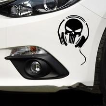 Car Stickers Skull Ghost Devil Headphone Creative Decals For Tail Window Waterproof Styling Vinyl 18*12cm