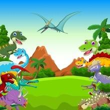 Laeacco Photography Backdrops Dinosaur Baby Cartoon Jungle Safari Birthday Party Portrait Photo Background For Studio