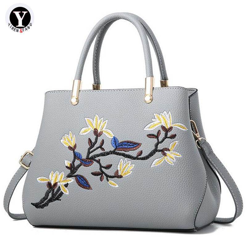 Yirenfang Women Bag 2018 Fashion Travel flower Leather Big Ladies Hand Bags Handbags Women Famous Brands Women Messenger Bags