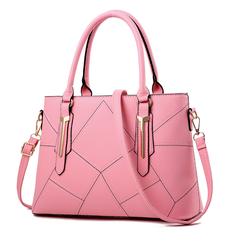 Women Bag Vintage Messenger Bags Shoulder Handbag Women Top-Handle Geometric Pattern Messenger Bag Purse Wallet Leather