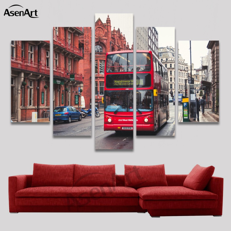 5 Panel Wall Canvas Street Bus London Painting Modern Home