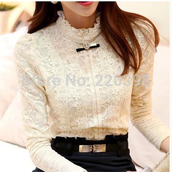 2014 moda Outono mulheres tops Roupas Femininas Blusas Femininas Blusas & Camisas de Lã Quente Mulheres Blusa de Crochê Camisa de Renda 999