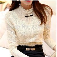 2014 Autumn Fashion Women Tops Women Clothing Hot Blusas Femininas Blouses Shirts Fleece Women Crochet Blouse