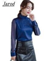최신 패션 2018 한국 여성 우아한 쉬폰 셔츠 여성의 패치 워크 긴 소매 프릴 스탠드 칼라 블라우스 최고
