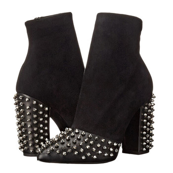 New Punk Metal Rivet Studded Ankle Boots Women High Chunky Heels Shoes Women Black Side Zipper Pointed Toe Chelsea Booties 2018