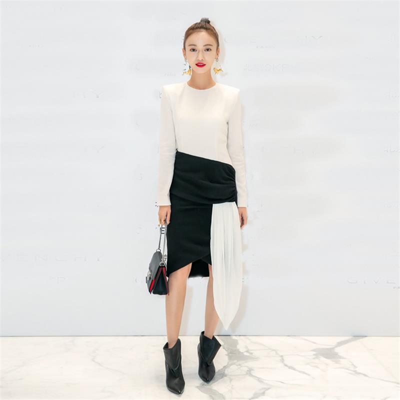 Kadın Giyim'ten Elbiseler'de Kadınlar Elbise 2018 Yüksek Kalite Sonbahar Bahar Tasarımcı Pist O boyun uzun Kollu Patchwork Moda Elbiseler NP0042'da  Grup 1