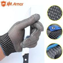 100 gant de travail de sécurité de boucher de maille en métal résistant aux coupures de haute qualité fait par des gants anti coupures de fil dacier inoxydable