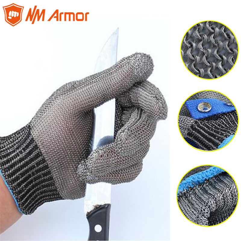 Protective Gears Stainless Steel Wire Metal Grid Butcher Anti-knife Protection Tool 1 Piece Safety Gloves Ss304 Mesh Anti-cutting Stab