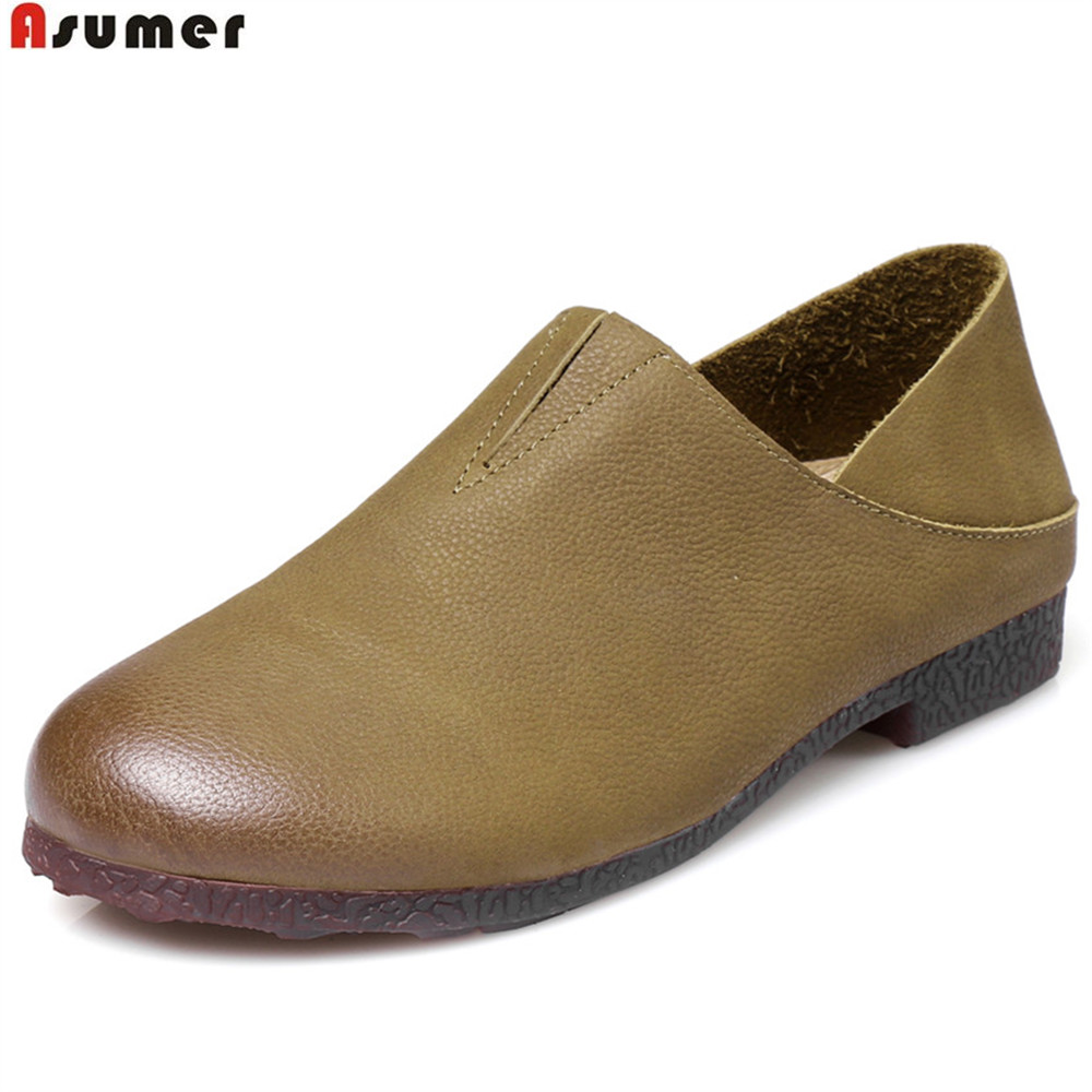Asumer army green black fashion spring autumn ladies flat shoes round toe casual brogue shoes women genuine leather flats czrbt women flat shoes new arrive genuine leather round toe slip on flat platform shoes woman casual flats army green black