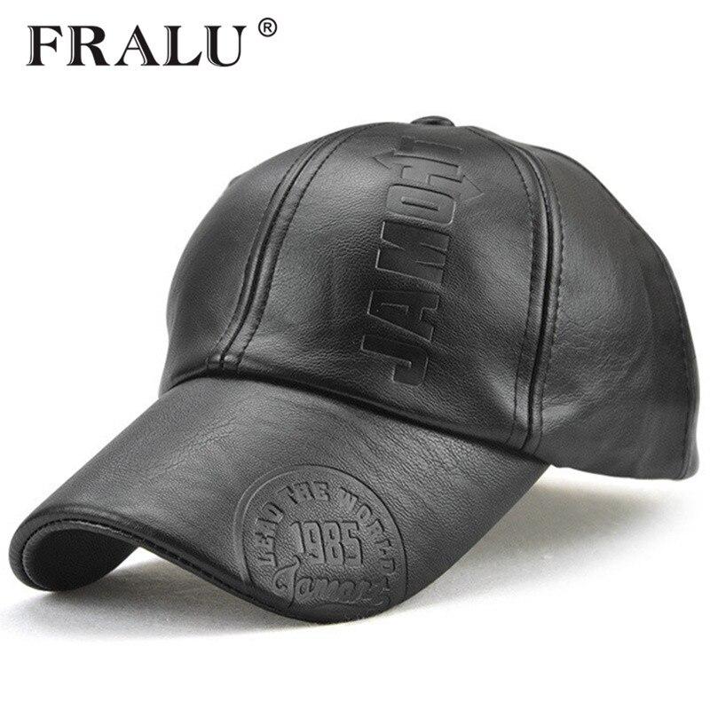 Fralu Neue Mode Hohe Qualitat Herbst Winter Manner Leder Hut Kappe