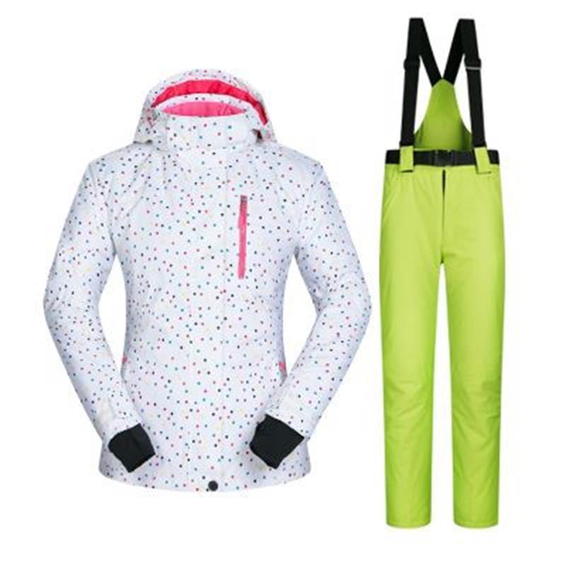 dots printed female ski jacket suits warm cheap ski suit women snowboard jacket pants mountain skiing suits for women's printed jacket and pocket design pants twinset