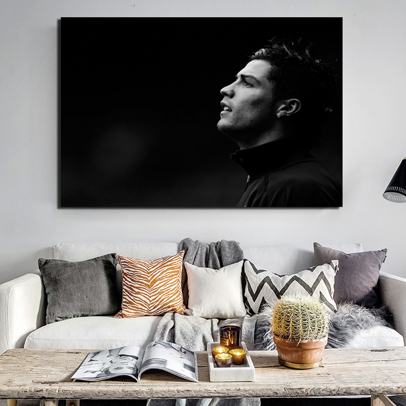 Cristiano Ronaldo Black And White 2K Wallpaper Canvas Painting Prints Living Room Home Decor Modern Wall Art Painting Posters in Painting Calligraphy from Home Garden