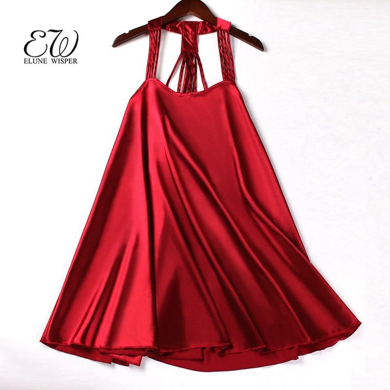 EW Silk Women Sleepwear Ladies Sexy Lingerie Sleepdress Plus Size M~XXL Babydoll Nightdress Nightgown Sleepshirts Homewear
