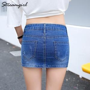 Image 3 - Streamgirl Denim Mini Saia Com Botões Frente Sexy Short Bandage Saia Bordado Com Shorts Jeans Mulheres Micro Mini Saias