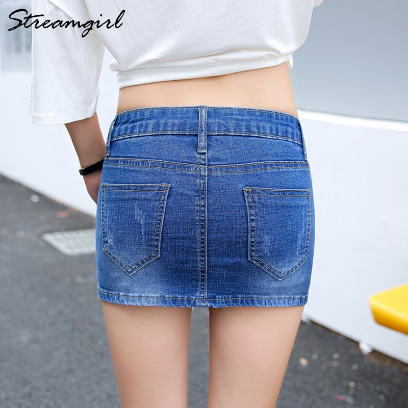 Image 3 - Streamgirl Denim Mini Skirt With Buttons Front Sexy Short Bandage Embroidery Skirt With Shorts Denim Women Micro Mini SkirtsSkirts   -
