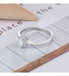 Fashion Blue Opal Stone Cubic Zirconia Infinity Ring Real 925 Sterling Silver Jewelry Christmas Gift for Her (JewelOra RI102849)