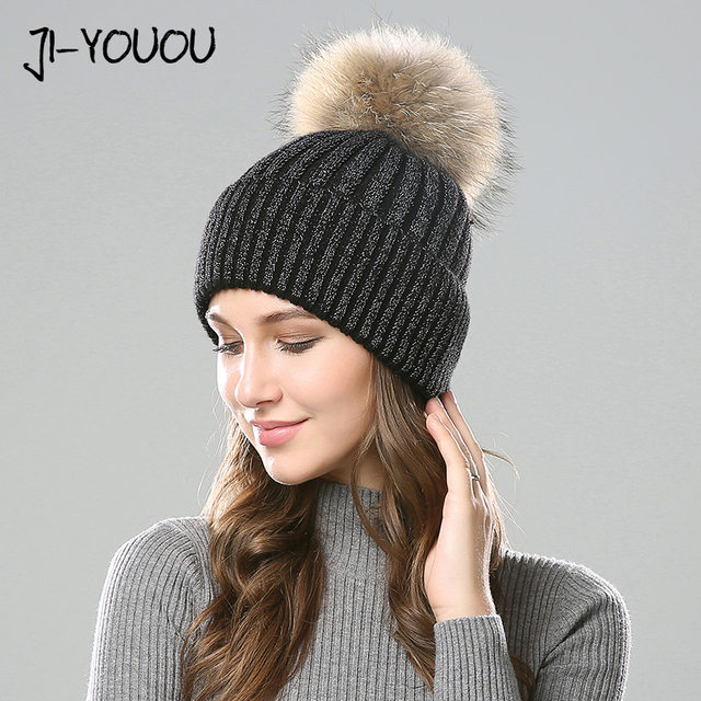 Women Winter Hats Wool Knitted Raccoon Fur PomPom Stripe Thick Cap 2018  Autumn Beanie Female Skullies Beanies Hat Female For 03 eae65fe4506c