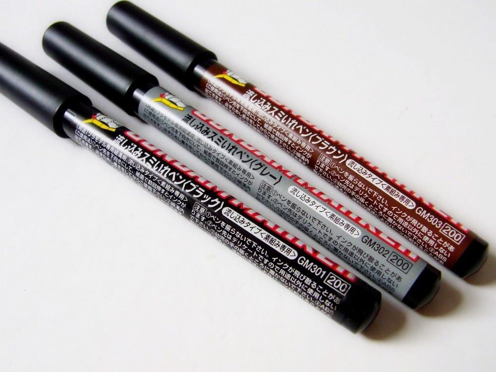 3pcs/set GSI Mr. Hobby Gundam Marker Pen Combo Set GM301 GM302 GM303 ( Pour Type Oil Base) цены онлайн