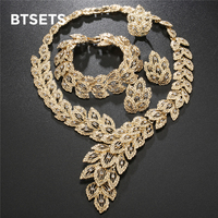 BTSETS Fashion Jewelry Sets African Nigeria Beads Dubai Jewellery Set Women Wedding Bridal Turkish Choker Costume
