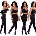 Macacao Feminino 2015 Women Black Strapless Sexy Bodysuits Elegant Sleeveless 2 Piece Bandage Jumpsuit Rompers Womens Jumpsuit