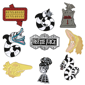 Beetlejuice Pins Collection Punk Dark Horror TV show Brooches Badges Bag Clothes Accessories Gothic Halloween Lapel Pins Jewelry