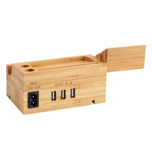 3 Port USB 15W 3A Bamboo Wood Charging Station Phone Stand Adapter Built in for iPhone