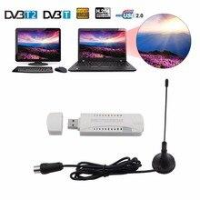 OOTDTY DAB Numérique HDTV Bâton Tuner Récepteur FM USB Dongle DVB-T2/DVB-T/DVB-C pour PC avec Récepteur Antenne