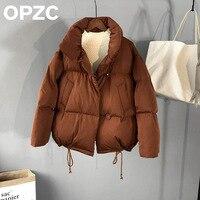 2017 Winter Fashion Brand Stand Collar Thicker Warm Jacket Winter Coat Women Loose Drawstring Bread Style