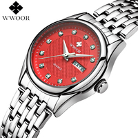 WWOOR Women Watches Brand Luxury Waterproof Date Clock Ladies Quartz Watch Women Silver Bracelet Wristwatch Red