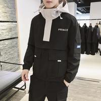 2019 Korean Mens Hooded Jacket Hip Hop Jacket Patchwork Windbreakers Bomber Jackets Big Pocket Fitness Black Coat 3XL