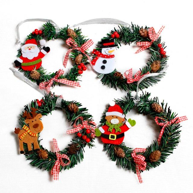 1pcs Snowman Christmas Deer Cloth Art Wreath Rattan Reed Wreath Garland Christmas Decoration Ornaments Party Supplies Home Decor 5