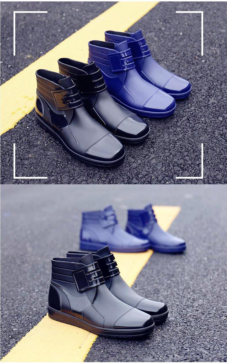HTB1BOpJKeGSBuNjSspbq6AiipXac - Dwayne 2018 Fashion PVC Waterproof RainBoots Waterproof Flat Shoes Men Black Rainboots Blue Rubber Ankle Boots Buckle Botas
