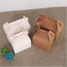 10pcs Kraft Paper Cupcake Box And Packaging White Cake  With Handle DIY Party Cookie Cardboard Gift Boxes