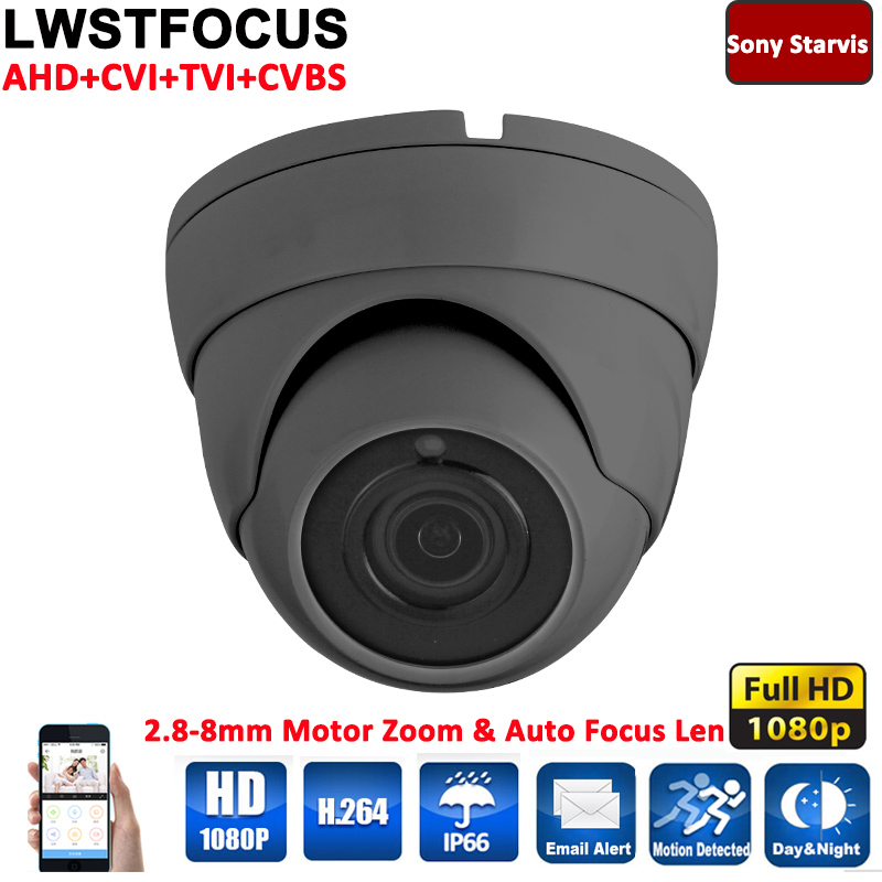2MP HD-AHD/CVI/TVI 4-In-1 Sony Cmos Motorized Zoom 2.8-8mm Auto-Zoom & Auto-Focus Day/Night Waterproof Dome 1080P AHDH Camera