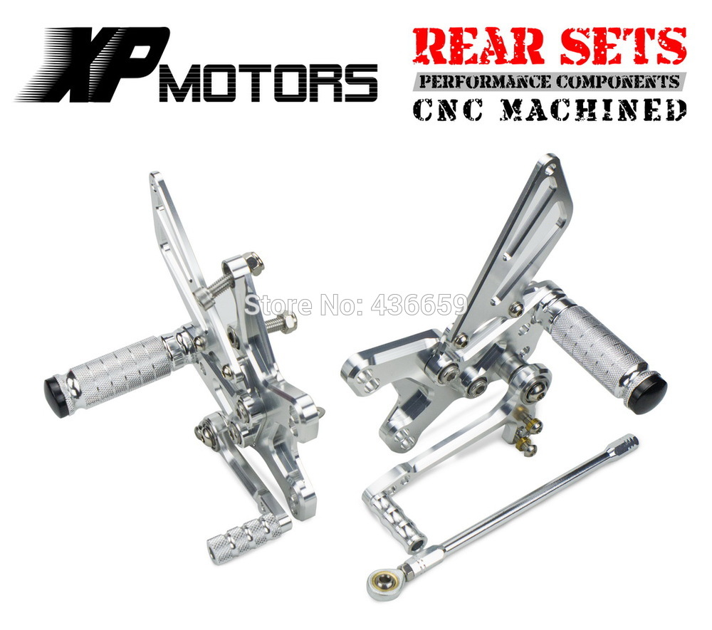 Silver Adjustable Foot Peg CNC Racing Rearset Rear Sets