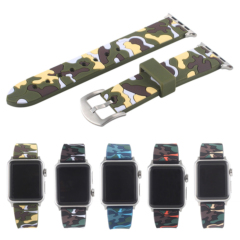fohuas Camo silicone Sports Strap 38mm For Apple Watch Accessory Wristband Replacement 42mm link Bracelet Series 1 Series 2